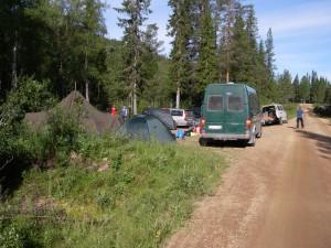 Vår trånga lägerplats vid fallet.